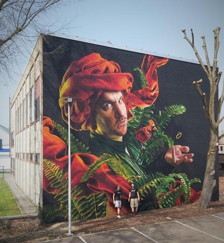 Afbeelding voor fragment: Street art in Maaseik: Indrukwekkende ode aan Jan Van Eyck op muur